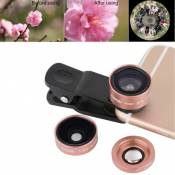 Wewoo Pour iPhone, Samsung, Htc, Sony, or rose Huawei, Xiaomi, Meizu P1 3 en 1 Universel 0.36X Grand Angle + 180 Degrés Fishey