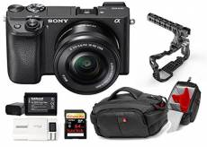 Kit Sony Digital Camera Alpha a6300 - Mirrorless Digital Camera + Lens 16-50mm + Memory Card Sandisk 64GB + Cage 8Sinn with Handle + Bag CC-191 + 2 Ba