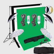 HWAMART® Portrait Professional studio photo Kit continu éclairage 2x3 Stand Support Compteur d'arrière-plan Avec écran Fond Photo Backdrop All In 1 Ph