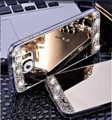 Samsung Galaxy S6 Edge Coque en Silicone Diamant,Samsung Galaxy S6 Edge Étui Souple Luxe,JAWSEU 2017 Neuf Ultra Slim Cristal Clair Bling Brillant Miroir Placage TPU Téléphone Coque Coquille de protection pour Femme Fille Luxury Flex Soft Gel en Caoutchouc Bumper Shockproof Anti Scratch Housse Sparkle Pailletee Strass Rigid Back Cover pour Samsung Galaxy S6 Edge+1*Noir Stylo Paillettes-Or*