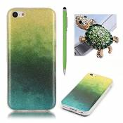 Coque Apple iPhone 5C - SKYXD iPhone 5C Housse Etui TPU Silicone Souple Clair Transparente Ultra Mince Premium Crystal Clair Gel TPU Bumper Bling Glitter Case Cover [Dégradé Vert et Multicoloré] +1x Vert Tortue Anti-Poussière Plug+Stylo Vert