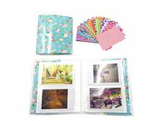Shaveh 64 Pockets Photo Album pour Mini Fujifilm Instax Mini 8 7s 25 50s 90 Polaroid & Nom Card (Fleurs bleues)