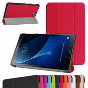 """TAB A 10.1 2016 Ultra Slim Coque,Mama Mouth Ultra Slim PU Cuir debout Fonction Housse Coque Étui Couverture pour 10.1\"""" SAMSUNG GALAXY TAB A 10.1 T580N T585N Android Tablet 2016,Rouge"""