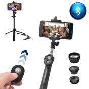 7in1 Smartphone Lens Kit, Bluetooth Remote Control + Selfie Monopod Tripod + Fish Eye + Wide Angle + Macro Lens + 2X Telephoto Lens for iPhone 7/6S/6