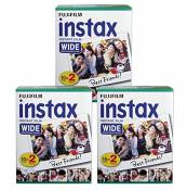 FujiFilm-Film Instax Wide Lot de 3 60 feuilles au total pour Fuji 210 200 100 300 Instant Photo Camera