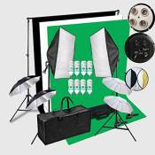 HWAMART® 8x45W Portraint studio photo professionnel 2x3 éclairage continu Compteur Contexte Kit Stand Support Avec écran Fond Photo Backdrop All In 1 Photographie Set You With Quality Carry Bag Noir / Blanc / Fond vert (8x45W)