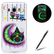 Samsung Galaxy J510/J5 2016 TPU Case Coque Samsung Galaxy J510/J5 2016 Gel Housse Feeltech [Gratuit Stylet Pen] Luminous Effect Noctilucent Green Glow in the Dark Matte White Ultra Slim Soft Rubber Shock Absorber Flexible Bumper Protective Cover Skin Shell pour Apple Samsung Galaxy J510/J5 2016 with Stylish Unique Colourful Printed Pattern Design - Cartoon Owl