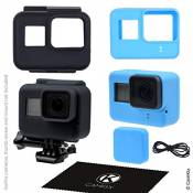 Silicone Sleeve Cases for Gopro Hero 5 Black - 2 Protective Covers - Black (Frame) / Blue (Camera) - Extra Protection for your GoPro Hero5 Camera and