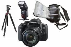 Canon EOS 750D reflex 24.2 mpix + objectif Canon EF-S 18-135mm f/3.5-5.6 IS STM + sac photo + trépied + flash