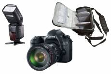 Canon EOS 6D 20.2 Mpx + Canon EF 24-105mm f/4 L IS USM + sac photo professionnel + speedlite flash