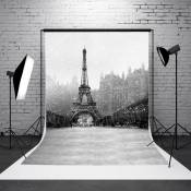 Toile de Fond Backdrop Tissu 90x150cm Photographie Studio Photo Tour Eiffel Neig