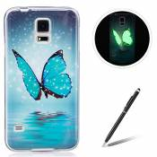 Samsung Galaxy S5/I9600 TPU Case Coque Samsung Galaxy S5/I9600 Gel Housse Feeltech [Gratuit Stylet Pen] Luminous Effect Noctilucent Green Glow in the Dark Matte White Ultra Slim Soft Rubber Shock Absorber Flexible Bumper Protective Cover Skin Shell pour Apple Samsung Galaxy S5/I9600 with Stylish Unique Colourful Printed Pattern Design - Bleu papillon
