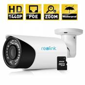 Reolink AutoFocus IP Camera 4MP 1440P POE P2P 4X Optical Zoom Outdoor Built-in 16GB Micro SD Card 2560x1440 RLC-411S ¡