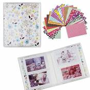 Shaveh 64 Pockets Photo Album pour Mini Fujifilm Instax Mini 8 7s 25 50s 90 Carte Polaroid et Nom (Blanc)
