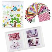 Shaveh 64 Pockets Photo Album pour Mini Fujifilm Instax Mini 8 7s 25 50s 90 Carte Polaroid et Nom (Oiseaux)