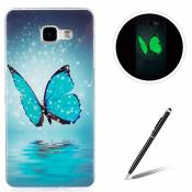 Samsung Galaxy A510/A5 2016 TPU Case Coque Samsung Galaxy A510/A5 2016 Gel Housse Feeltech [Gratuit Stylet Pen] Luminous Effect Noctilucent Green Glow in the Dark Matte White Ultra Slim Soft Rubber Shock Absorber Flexible Bumper Protective Cover Skin Shell pour Apple Samsung Galaxy A510/A5 2016 with Stylish Unique Colourful Printed Pattern Design - Bleu papillon