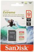 SanDisk Extreme 32GB microSDhC Memory Card for Action Cameras & Drones with A1 App Performance up to 100MB/s, Class 10, U3, V30 - Twin Pack