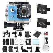 Camera Sport, WiMiUS Q1 Action Cam 4k Full HD 16MP WIFI Etanche 40M, Camera Embarquée Sport 170° Grand Angle Kit d'accessoires + 2 Batteries (Bleu)