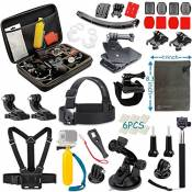 Vanwalk Accessoires Kit pour Gopro Hero 5 Hero 4 Session, Hero3 +, Hero3, Hero2 & Hero + Lcd, Poitrine Mont Harness / Head Strap / Telescopic Pole / C