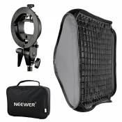 Neewer 40x40cm Bowens Monture Softbox avec Grille et S-Type Flash Support pour Nikon SB-600, SB-800, SB-900, SB-910, Canon 380EX, 430EX II, 550EX, 580EX II, 600EX -TI, Neewer TT560 Flash Speedlite