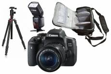Canon EOS 750D reflex 24.2 mpix + objectif Canon EF-S 18-55mm f/3.5-5.6 IS STM + sac photo + trépied + flash