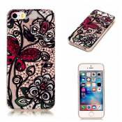 iPhone 5C case KSHOP TPU en Souple Silicone Bumper Housse Ultra mince Flexible Transparent de Protection Portable Anti shock Anti Scratch avec Motif - papillon Rouge + Fleur de Vigne Noir