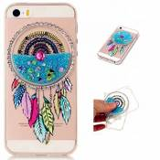 MUTOUREN TPU coque pour iPhone SE/5S/5 silicone transparent liquid Crystal cover bling case de protection Anti-poussière housse etui Anti-shock case étanche Résistante Très Légère Ultra Slim cas Soft bumper doux Couverture Anti Scratch-sables mouvants Dreamcatcher bleu clair
