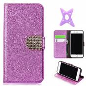 MAOOY iPhone 6sPlus Cuir Coque, iPhone 6Plus Luxury Bling Glitter Case, Wallet Flip Cover Fente Carte et Support Stand pour iPhone 6Plus/6sPlus, Pourp