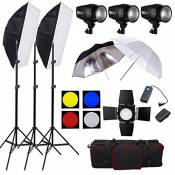 Professionnel Kit Flash stroboscopique éclairage video studio photo 540W--3*180W Strobe light, 2*Softbox, 1*Coupe flux et 4 filtre couleur, 1*Paraplui