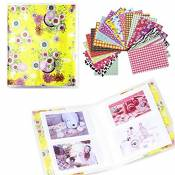 Shaveh 64 Pockets Photo Album pour Mini Fujifilm Instax Mini 8 7s 25 50s 90 Polaroid et carte de noms (Fleurs jaunes)