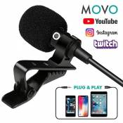 Movo Micro-Cravate omnidirectionnel condensateur PM10 Deluxe avec Clip pour Apple iPhone, iPad, iPod Touch, Smartphones Android & Windows