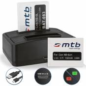 2 Batteries + Double Chargeur (USB) NB-6L NB-6LH pour Canon Powershot D10, D20, D30 / ELPH 500 HS / SD770 IS, SD980 IS, SD1200 IS, SD1300 IS, SD3500 I