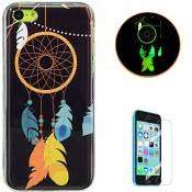 KaseHom for iPhone 5C Soft Silicone Gel Case Luminous Effect Shock Absorption Cover Excellent Dustproof Jelly Clear TPU Rubber Skin Protective Bumper