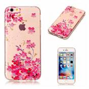 Etui pour iPhone 6 Plus/ iphone 6s Plus KSHOP Coque Protection en Gel Silicone TPU Premium Bumper Cover 2017 Transparent Crystal Design avec Motif - Série Fille de Fleurs Roses