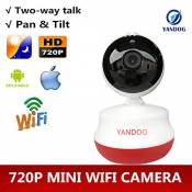 yandog monilon Webcam HD WiFi Sans Fil Camera 360 degrés Rotating Baby Monitor with Infrared Night Vision, Memory Card Slot, Two Way Audio, Remote View [with Europe Plug]