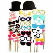 A-szcxtop 36 pcs coloré Photo Booth Props Photographie pour Party Fun Mariage de Noël Anniversaire