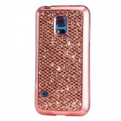 KSHOP Etui pour Samsung Galaxy S5 Mini Bling TPU Gel Coque Ultra Mince Case Cover avec Cadre de Galvanoplastie Telephone Portable Soft Housse Cas Prime Flex Silicone Shell Coquille Couvrir Coverture Pare-Chocs Anti-Choc Skin Protection Bumper - Or Rose