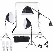 Andoer Ensemble de Triple de Photographie Studio Softbox d'Eclairage Lampe de Photographie Toile de Fond Mousseline Avec Trois 60cm Octagon Softbox Ca