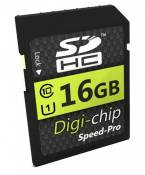 Digi-Chip 16 GO 16GB UHS-1 CLASS 10 SD SDHC Carte Mémoire pour Panasonic Lumix DMC-GM5, DMC-LX100, DMC-TZ70, DMC-TZ57, DMC-SZ10, DMC-FT30, DMC-FT6, DM