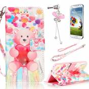 Coque pour Galaxy J5 (2015), Sunroyal® 3D Bling Portefeuille Dragonne Etui Housse en Premium PU Cuir Livre Stand Case Cover Swag Téléphone Portable de Protection Bumper Rabat Flip Shell Coquille Motif Adorable Ours Bear pour Samsung Galaxy J5 (2015 Version) SM-J500F