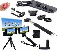 AFAITH Professionnel 6 en 1 Kit Lentille Smartphone Universel Objectif fisheye à 180°+ Objectif Grand Angle + Objectif Macro + Selfie Pôle Stick Monopode + Trépied + Support de fixation pour iPhone 6s plus 6s 6 5 4 , Samsung Galaxy S7 S7 edge S6 S5 S4 S3 Note 4 5 , LG G4 G3 , Sony Z2 Z3 compact ultra , HTC one m7 m8 , Huawei Honer P7 P8 et Autre Android