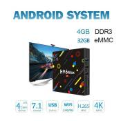 H96 MAX H2 Smart TV Box 4G + 32G décodeur TV Box 2.4G / 5G WiFi Android 7.1 4K HD H.265 Media Player