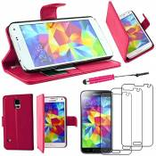 EbestStar - Coque Compatible avec Samsung S5 G900F, Galaxy S5 New G903F Neo Etui PU Cuir Housse Portefeuille Porte-Cartes Support +Mini Stylet +3 Film