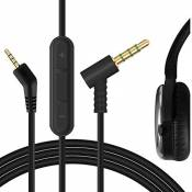 Geekria Audio Cable Replacement for Bose QuietComfort QC3 Headphone with Inline Mic/Bose QC3 Audio Cord Works with Apple Device, Android, Windows Phone