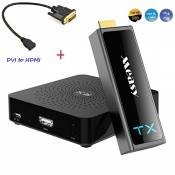 Measy uncompressed WIHD(Wireless HD1.1) Wireless HDMI Transmitter and Receiver W2H Mini II 2 + DVI to HDMI Adapter Compatible with 30M/100FT Support 3