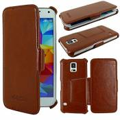 ebestStar - Coque Compatible avec Samsung S5 G900F, Galaxy S5 New G903F Neo Etui Housse Cuir PU Luxe avec Support Stand, Marron [Appareil: 142 x 72.5 x 8.1mm, 5.1'']
