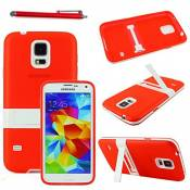 ebestStar - Coque Compatible avec Samsung S5 G900F, Galaxy S5 New G903F Neo Etui Housse Silicone Gel TPU avec Support Béquille + Stylet, Rouge [Appareil: 142 x 72.5 x 8.1mm, 5.1'']