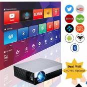 720p Android Videoprojecteur avec WiFi Bluetooth, supporte 1080p et 4k, 40-300 Image, Airplay Miracast DLNA, Pour Smartphone PC TV