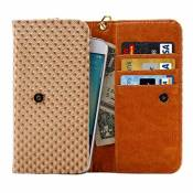 DFV mobile - Cover Premium Case with Design Grid Texture with Card Slots & Lanyard for DIGMA Linx TRIX 4G (2018) - Beige