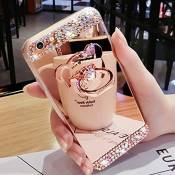JAWSEU Coque Samsung Galaxy J7 Prime/On7 2016 Silicone TPU, Diamant Ultra Slim Bling Brillant Glitter Miroir Ring Stand Holder Lovely Mignonne Ours Pl